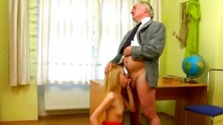 Blond marvelous doll getting her marangos squeezed by a old fellow