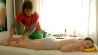 Brown-haired gorgeous slut getting her legs massaged