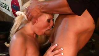 Bright-haired hoe in hosiery collects her pounded