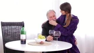 Bearded old guy is swirling his tongue in every place girl's hard nipps